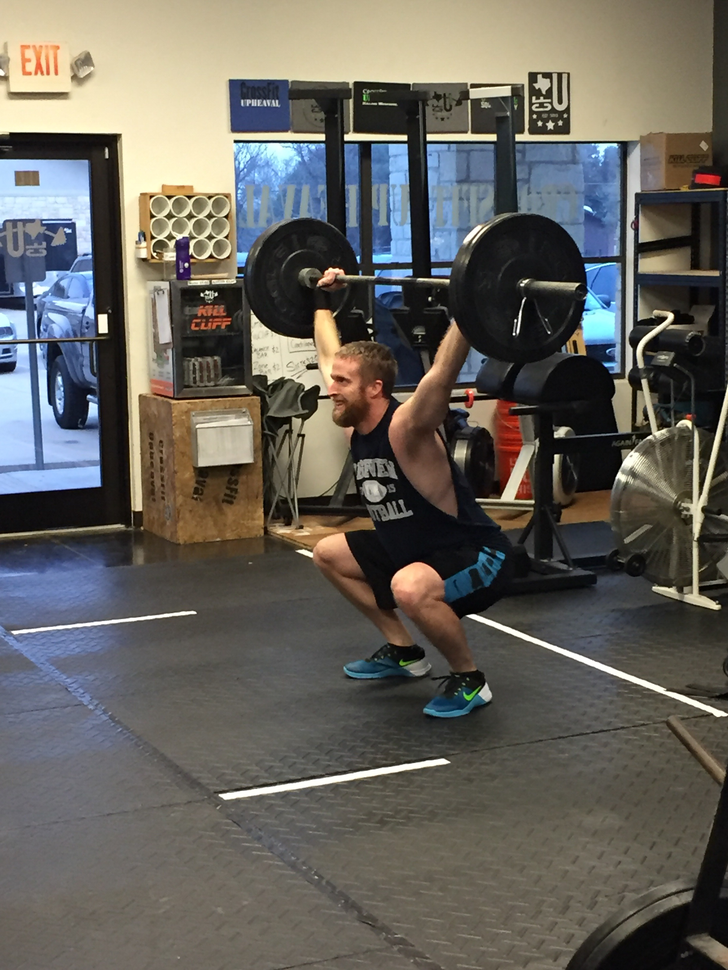 135 Pound Thruster 7 Reps Knees To Elbows 245 Deadlift Burpees Kettlebell Swings 2 Pood Pull Ups